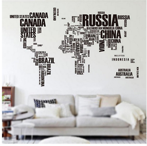 World Map Wall Sticker Country Names Large Black Letter Decal Decoration Mural