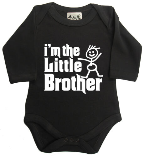 """Dirty Fingers Long Sleeve Bodysuit Baby grow /""""I/'m the Little Brother/"""" Baby Boy"""