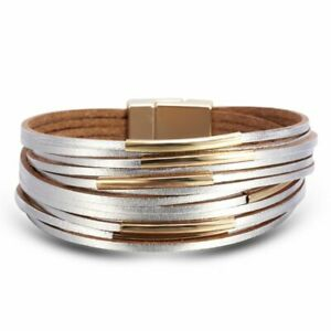 7342a065aa2b5 Details about Fashion Women Multilayer Leather Magnet Bangle Wrap Cuff  Charm Bracelet Jewelry