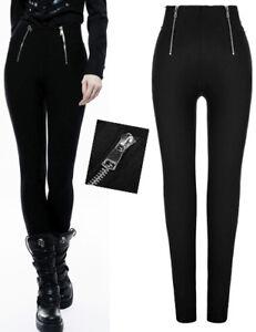 fba4b6743f1f7 Pantalon taille haute gothique punk lolita militaire zip zippé ...