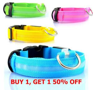 Safety-Dog-LED-Collar-Blinking-Night-Flashing-Light-Glow-Adjustable-SAFE-PETS-N