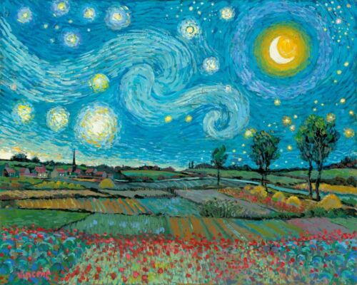Starry Night Poppies Field Mashup Van Gogh Painting Paint By Numbers Kit DIY