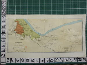 1926-India-Indio-Tourist-Mapa-Lucknow-Intrenched-Britanico-Garrison-Palace