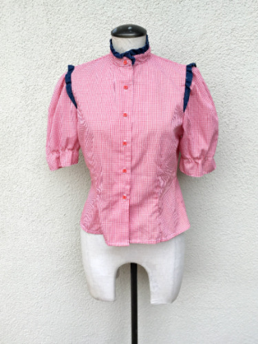 70s Gingham Top Western Cowgirl Blouse with Gunne