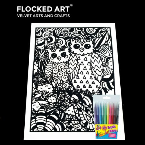 Velvet Colouring Art Owls Very Large 50cm x 35cm 20 Inches x 14 inches