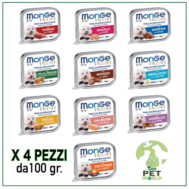 MONGE Fresh Patè Bocconcini Cibo Umido per Cane Vari Gusti 100 gr x 4 PEZZI