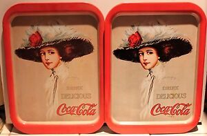 Details about 2-SET 1971 COCA-COLA GIRL METAL TRAYS Vintage Advertising  Sign 1909 Poster