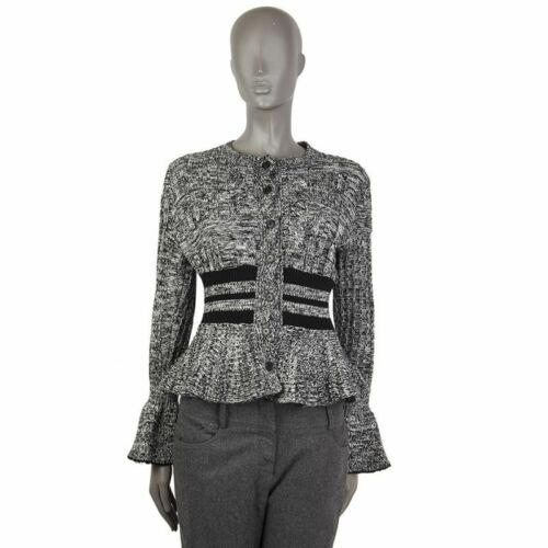 Wool Alexander Mcqueen Black amp; 55442 Flared White Auth Sweater S Cardigan SYqnTT