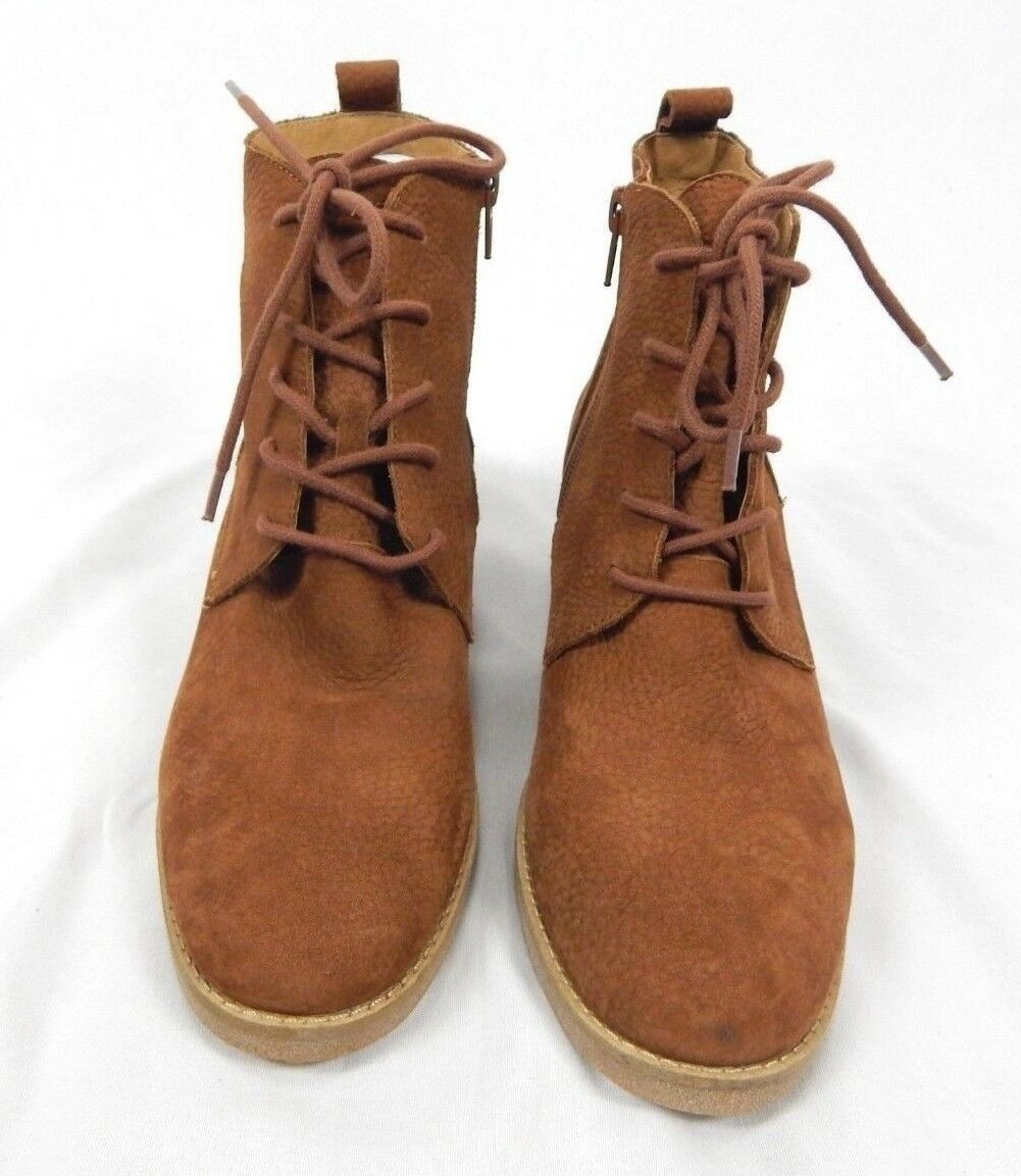 8 9.5 8.5 Lucky Brand Toffee Brown Embossed Nubuck Tamela Lace-Up Booties 7.5