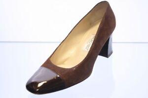 Mauro-Teci-Pumps-braun-Leder-Glitter-effekt-Gr-37-5-UK-4-5