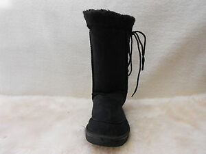 Ugg-Boots-Tall-Synthetic-Wool-Lace-Up-Size-10-Lady-039-s-8-Men-039-s-Colour-Black