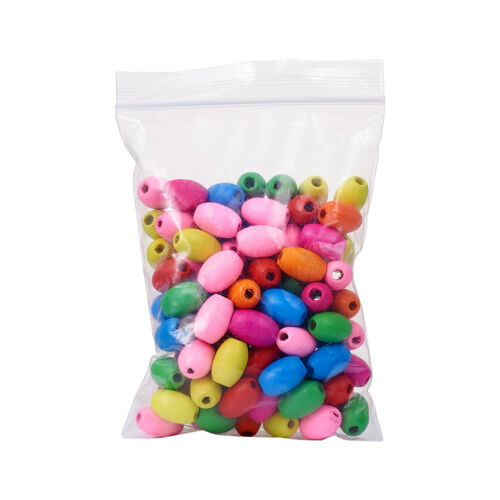 100 Pcs sans plomb teint Barrel Wood Beads for jewelry making Mixed Color 17x12mm