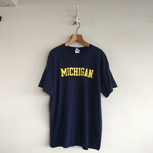 Vintage-USA-Michigan-Navy-100-Heavy-Cotton-Guildan-Sports-Tee-Shirt-Top-XLarge