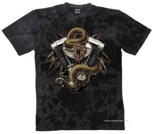 T Shirt Batik Schwarz V Twin HD Biker Chopper/&Motorradmotiv Modell Snake Engine