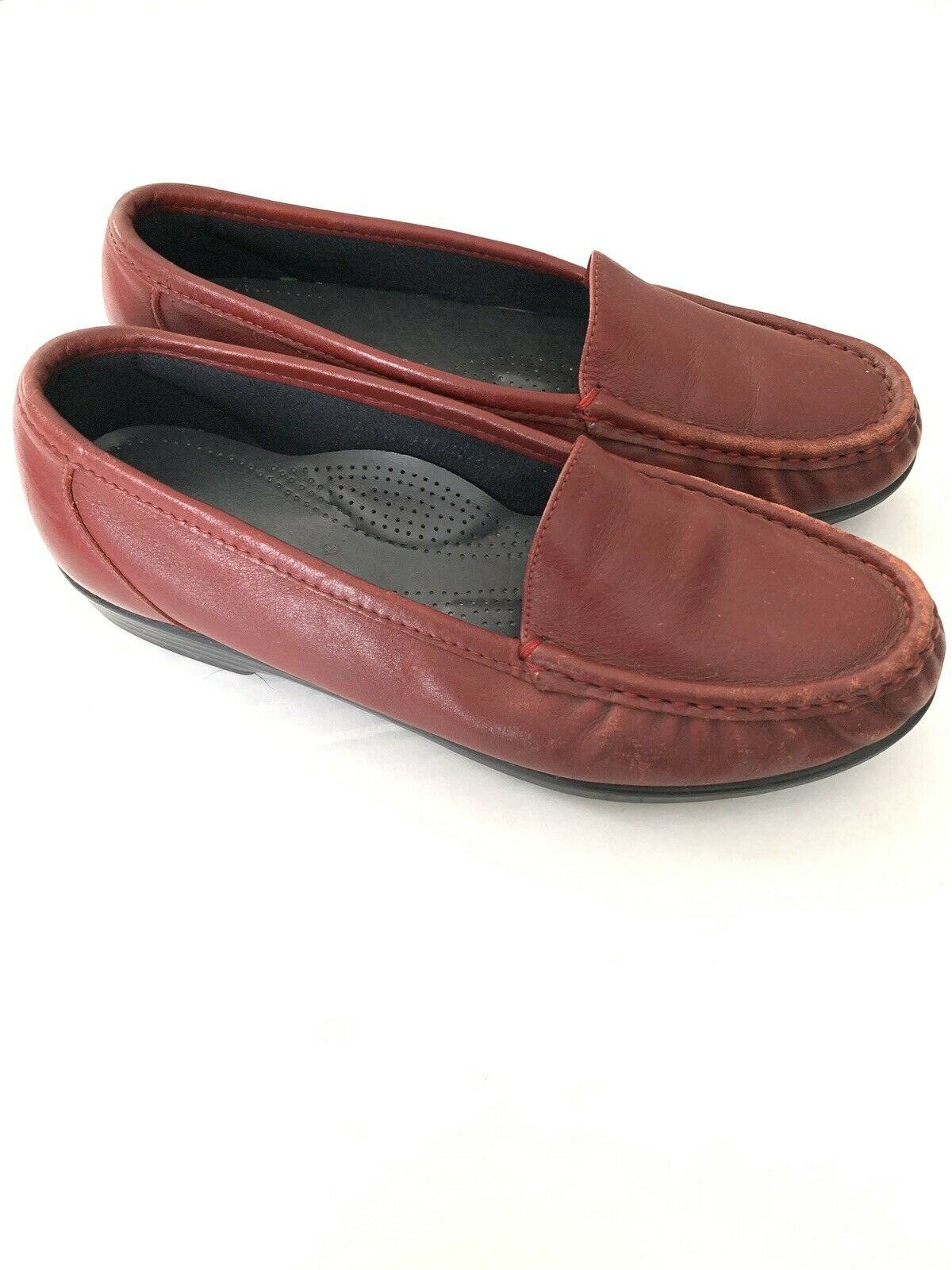 SAS Womens Tripad Comfort Loafer Moc Red Leather Slip On shoes Sz 7