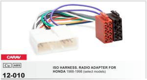 CARAV 12-010 Conector ISO OEM Radio Adaptador HONDA 1988-1998 varios modelos