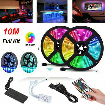 Led Strip Lights 32.8ft 10m Flexible Multi Color RGB 5050//3528 600leds Tape 12V