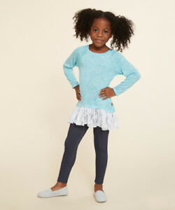 """Girl 4-12 and 18"""" Doll Matching Blue Sparkle Tunic Leggings Outfit American Girl"""