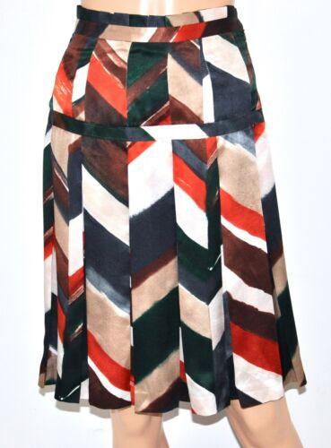 SALVATORE FERRAGAMO Multi Striped Pleated Silk Sig