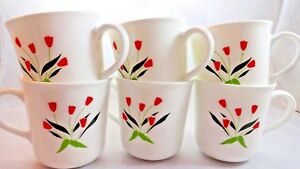 6-Corelle-Corning-Cups-Mugs-Casey-039-s-Flowers-Red-Tulips-Rare-Pattern