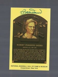 Bobby Doerr Boston Red Sox Signed Gold HOF Plaque Postcard W/Our COA A