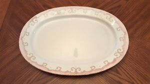 New-REAL-Ceramica-Water-Blue-Pink-Band-Large-Oval-Platter-16-034-Made-in-Portugal