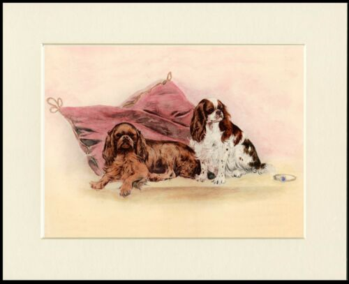 CAVALIER KING CHARLES ENGLISH TOY SPANIEL DOGS DOG PRINT MOUNTED READY TO FRAME