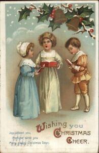 Unsigned-Clapsaddle-Christmas-Kids-Sing-Carols-c1910-Postcard