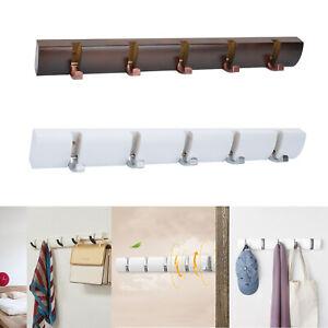 UK-Foldable-5-Hooks-Wall-Mounted-Rack-Coat-Hook-Rack-Towel-Wooden-Hanger-Holder