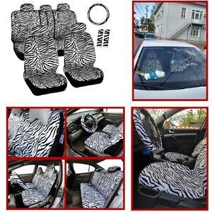 Image Is Loading 12x Short Plush White Zebra Car Seat Steering