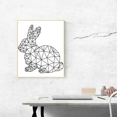 Geometric Rabbit Bunny Vinyl Sticker Wall Decal A4 Home Room Decor Kid/'s