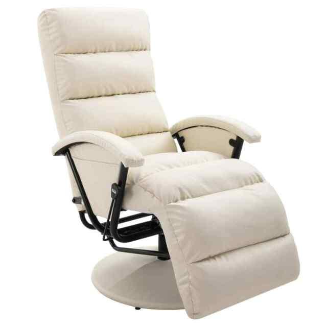 vidaXL Fauteuil Inclinable /Électrique Similicuir Beige Chaise de Massage