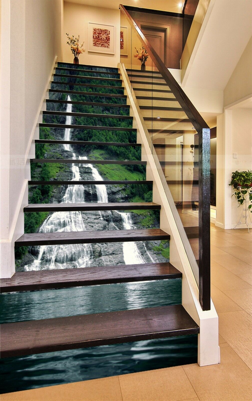 3D Waterfall Lake 73Stair Risers Decoration Photo Mural Vinyl Decal Wallpaper AU