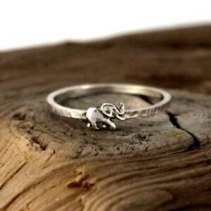 Chic-Animal-Women-Man-925-Silver-Animal-Elephant-Silver-Ring-Jewelry-Size-6-10