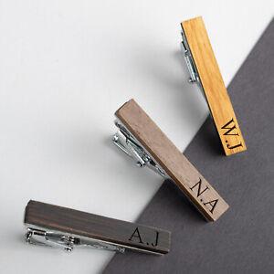 Personalizzato-Inciso-Tie-Pin-Clip-bar-in-legno-da-Uomo-Matrimonio-Regalo-Di-Compleanno
