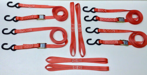 "8pc Cam Lock Buckle 1/""x12/' Tie-Down Set 4 Cam Lock Straps /& 4 Soft Ties Red"