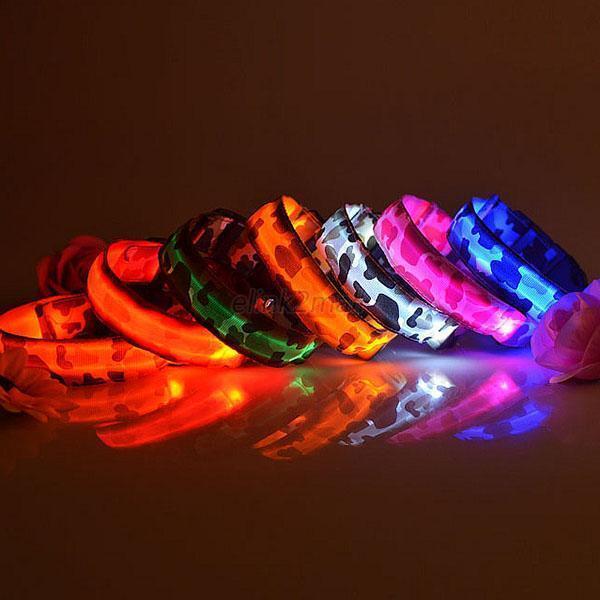 LED Glow Camouflage Collar Dog Puppy Pet Flashing Light Safety Nylon Leash E62