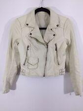 Women's White Leather Moto Motorcycle Side Zip Jacket Jacket Pyramid Studs