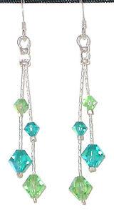 PERIDOT-amp-BLUE-ZIRCON-Teal-Crystal-Earrings-Sterling-Silver-Swarovski-Elements