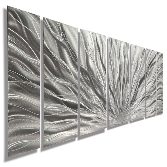 Modern Abstract Metal Home Art Wall Sculpture Silver Plumage by Artist Jon Allen