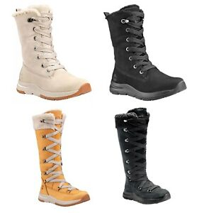 Timberland-Woman-039-s-Mabel-Town-Mid-Tall-Leather-Boots-Off-White-Black-Wheat