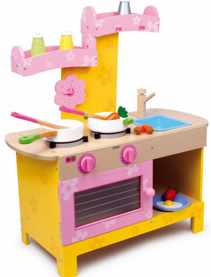 Kinderküche Holz mit 10-teiligem Zubehör ca. 57 x 25 x 64 cm Puppenkinder