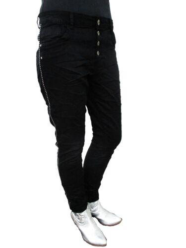 A Quadri Star lexxury jewelly Stretch Pantaloni lunghi cavallo basso boyfriend jeans borchie pagine strisce
