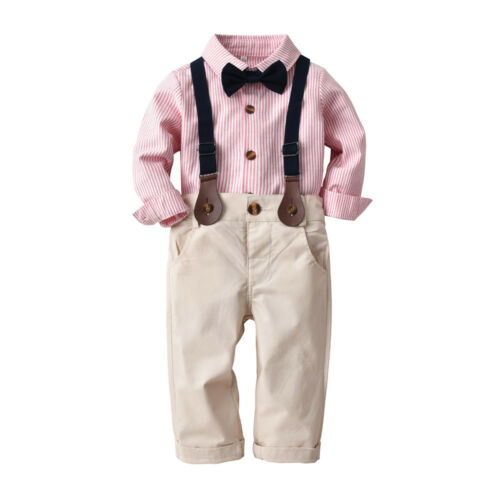 Toddler Baby Boys Striped Gentleman Bowtie Outerwear Shirt+Overall Pant Set New