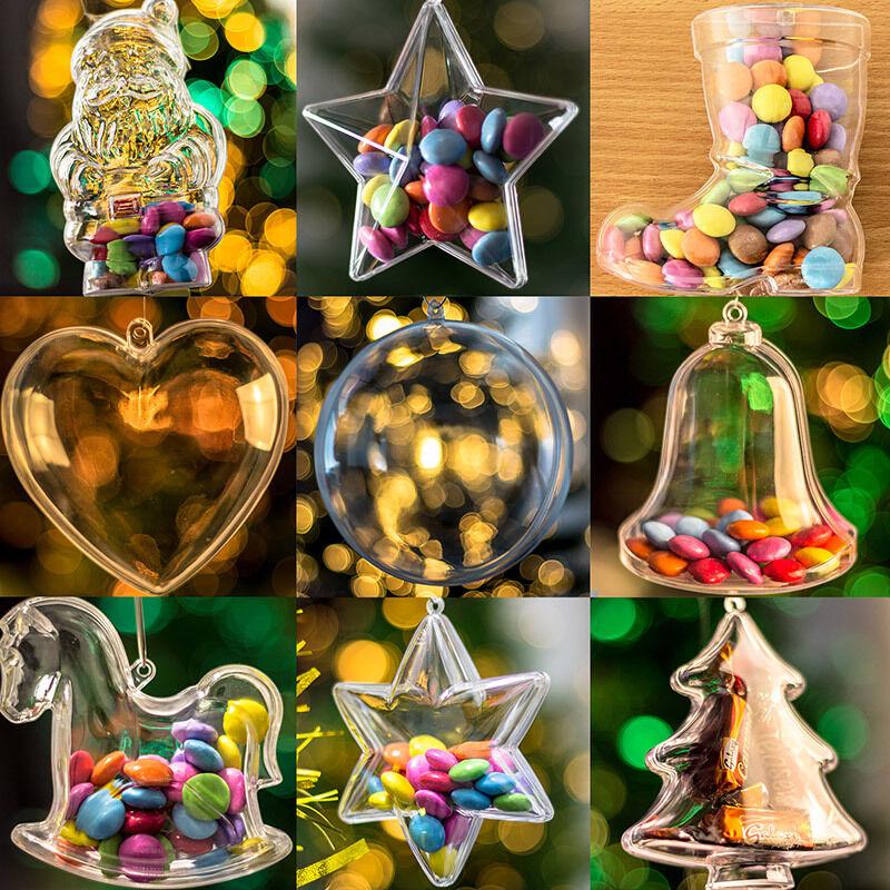 X65 Pieza Transparente Fillable árbol de Navidad Decoraciones Set Estrellas Baubles