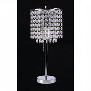 Details About Diamond Cut Faux Crystal Table Lamp Metal Base Home Need