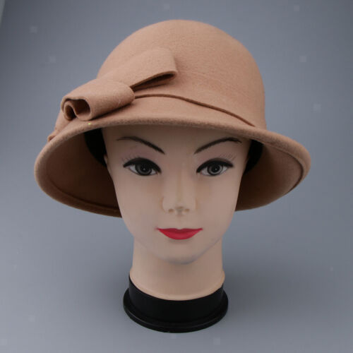 Prettyia Womens 1920s Vintage Wool Cloche Bucket Bowler Hat Winter Cap