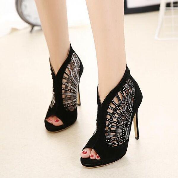 Stivaletti stivali sandali estivi black fashion stiletto 12 cm simil pelle CW462