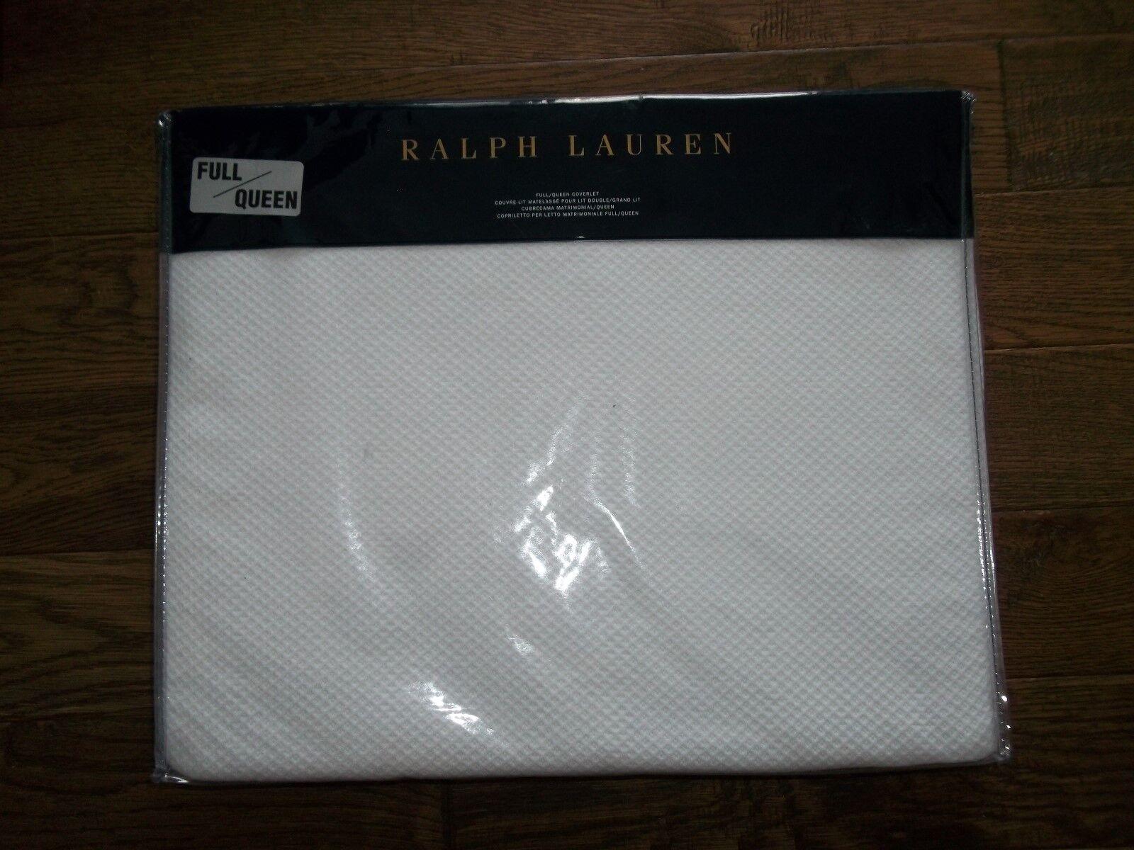 RALPH LAUREN Diamond WHITE Quilt ADELAIDE Full Queen COVERLET Bedspread Rt  285