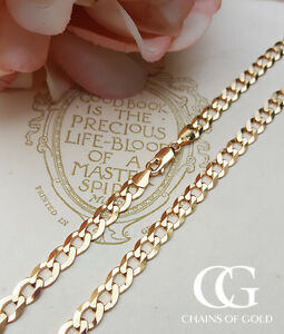 6918b2127b12e Details about Solid 9ct Yellow Gold 6mm Men's Diamond Cut Flat Curb Chain  20